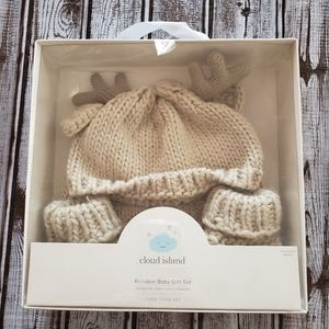 Cloud Island Reindeer Hat 3 Piece Knit Gift Set